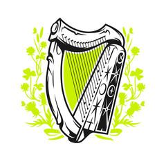 Antique irish harp on wildflower background