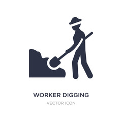 worker digging a hole icon on white background. Simple element illustration from Business concept.