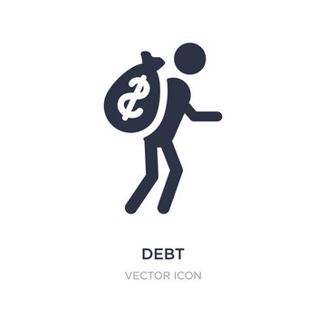 debt icon on white background. Simple element illustration from Business and analytics concept.