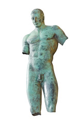 old greek male bronze statue at Sicily