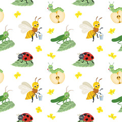 Vector seamless pattern of cartoon bugs on white background. Grasshopper, ladybug, caterpillar and bee in flat style.