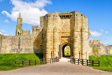 The view from outside the property of Warkworth Castle, a ruined medieval building in the village of the same name in the English county of Northumberland, United Kingdom Wall mural