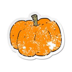 distressed sticker of a cartoon pumpkin