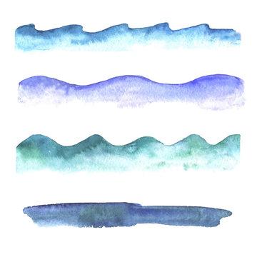 Set of watercolor waves.