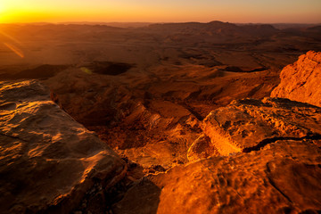 landscape view of the desert at morning time, Mitzpe Ramon, Israel