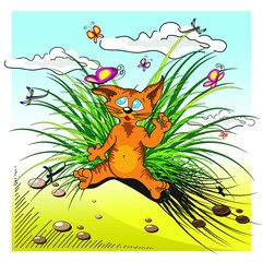 Red cat plays with a butterfly