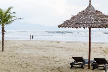 Bac My An Beach at sunrise umbrella and beautiful sand beach