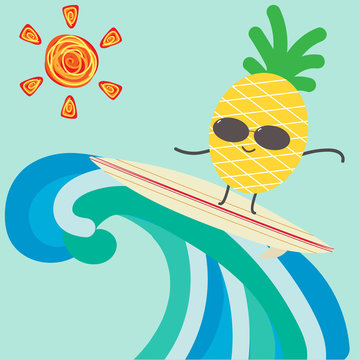 Funny cartoon pineapple character surfing for summer background.