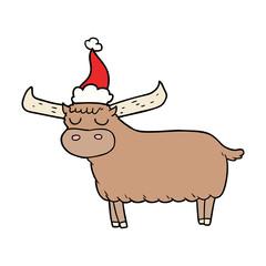 line drawing of a bull wearing santa hat