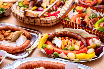Traditional sausages are arranged for review at food contest