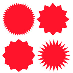 Set of sale sticker, price tag, quality mark, starburst, sunburst badges. Design elements. Flat vector illustration isolated on white background.