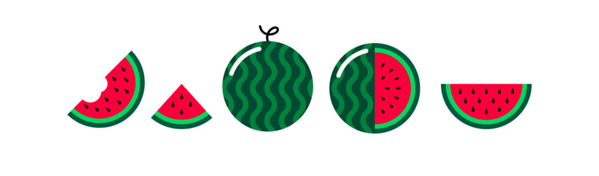 Vector watermelon flat icons set isolated on white background. Cartoon watermelon cute and kawaii style. Funny water melon illustration. Whole, slice, half fresh healthy summer fruits icons. EPS 10
