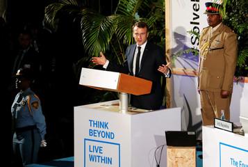 French President Emmanuel Macron addresses the United Nations Environmental Assembly in Gigiri within Nairobi