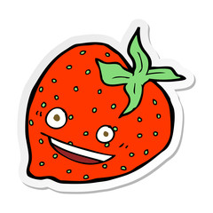 sticker of a cartoon strawberry
