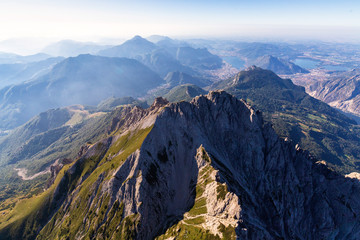 Aerial view of Grignetta (Southern Grigna) and Lecco in the background, Valsassina, Lake Como, Lecco province, Lombardy, Italy