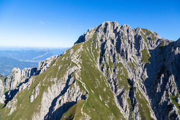 Aerial view of the rocky peaks of Grignetta (Southern Grigna), Valsassina, Lake Como, Lecco province, Lombardy, Italy