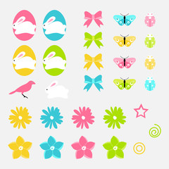Easter vector elements set of spring flowers, eggs, bunny and birds