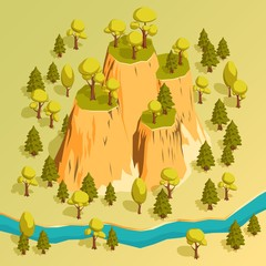 A cliff with ledges in a forest surrounded by trees and river. Isometric 3d vector illustration.