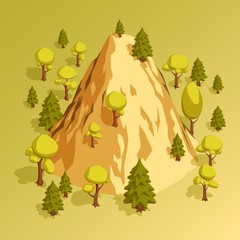 Isometric mountain hill surrounded by various trees in the forest. Vector illustration.