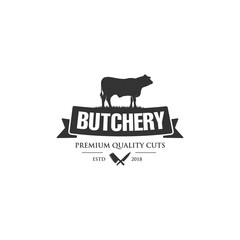 Vintage logo butcher shop with picture of cow. Engraving label with sample text. Vector Illustration