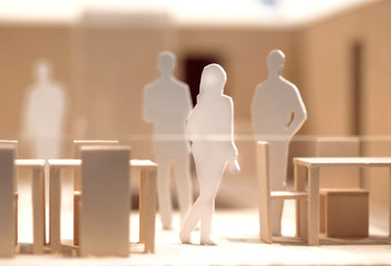 People meeting and talking, wooden and cardboard layout, model of human communication