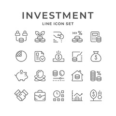 Set line icons of investment