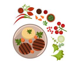 Appetizing Steak on Plate. Vector Illustration