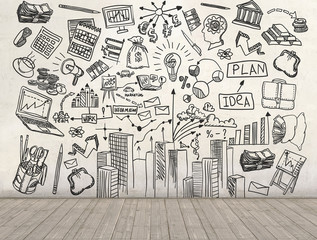 A business plan drawn on a wall. 3d render