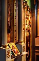 Church icon of Mother of God (Mary) and child (Jesus Christ) symbols of christianity