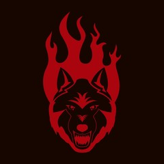 Color illustration on dark background wolf with grin in fire