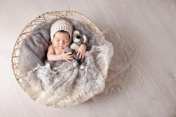 Sweet newborn baby sleeps in a basket. Beautiful newborn boy with bear toy. Copy space