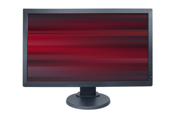 Computer monitor isolated on white with screensaver running