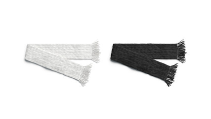 Blank black and white knitted scarf folded mockup set, isolated, 3d rendering. Empty soft clothing mock up. Clear folded necker chief for design template.