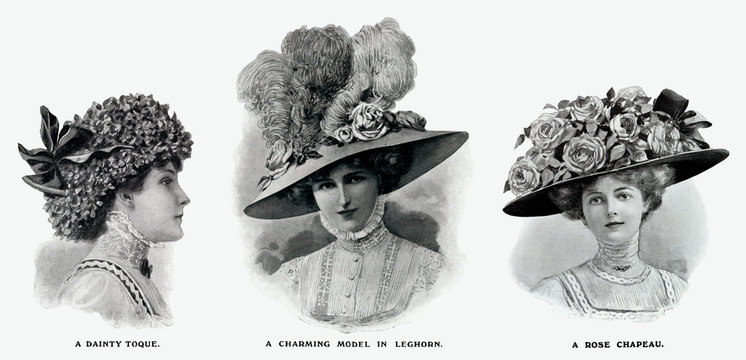 Edwardian Hats Using Floral Decorations 1909