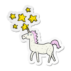 sticker of a cartoon magical unicorn