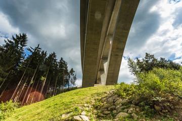 tall highway bridge on green grassy hillside