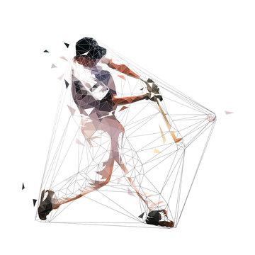 Baseball player swinging with bat, low polygonal batter, isolated geometric vector illustration. Team sport athlete