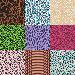 repeated wild animal skins fabric print background