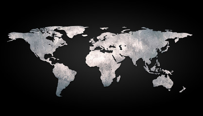 3d world map metal on black background Wall mural
