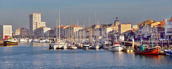 Panoramic photo of port of Les Sables d'Olonne, commune in the Vendée department in the Pays de la Loire region in western France