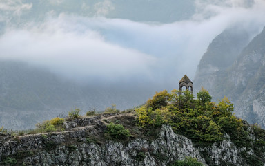 observation deck in the mountains in the fog