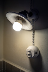 vintage lamp with a modern bulb