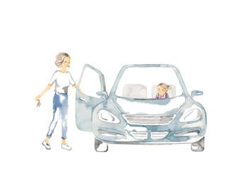 車でおでかけ、母と娘