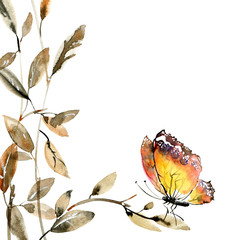 Watercolor tree leaves and butterfly