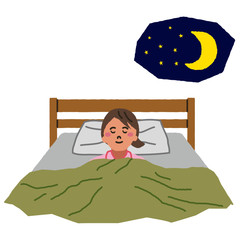 夜ぐっすり眠る女性のイラスト