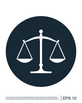 Scale icon, Law scale vector icon, Justice symbol