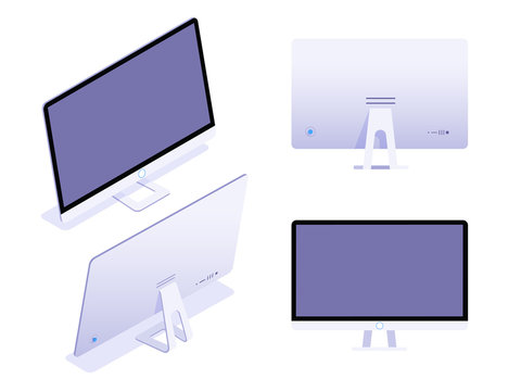 The set of monitors in an isometric, front and back view isolated on white background. Vector flat isometric illustration