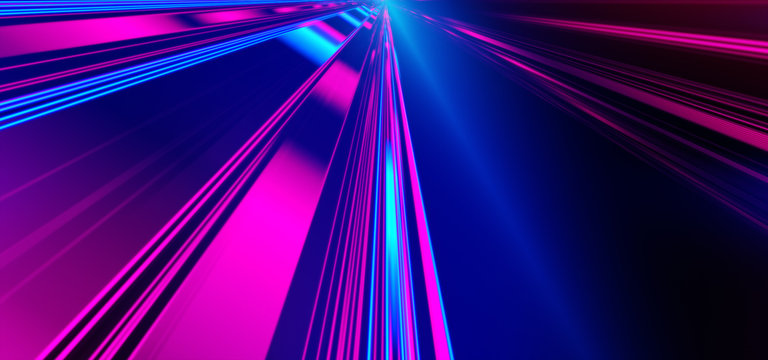 Futuristic lights. Cyberpunk background. Abstract lasers. Pink and Blue.