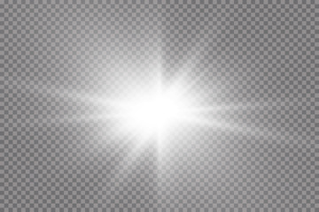 White glowing light explodes on a transparent background. with ray. Transparent shining sun, bright flash. The center of a bright flash.