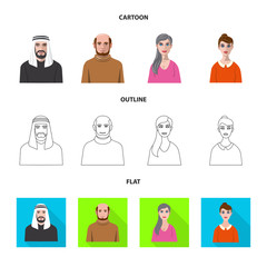 Isolated object of hairstyle and profession  sign. Collection of hairstyle and character  stock symbol for web.